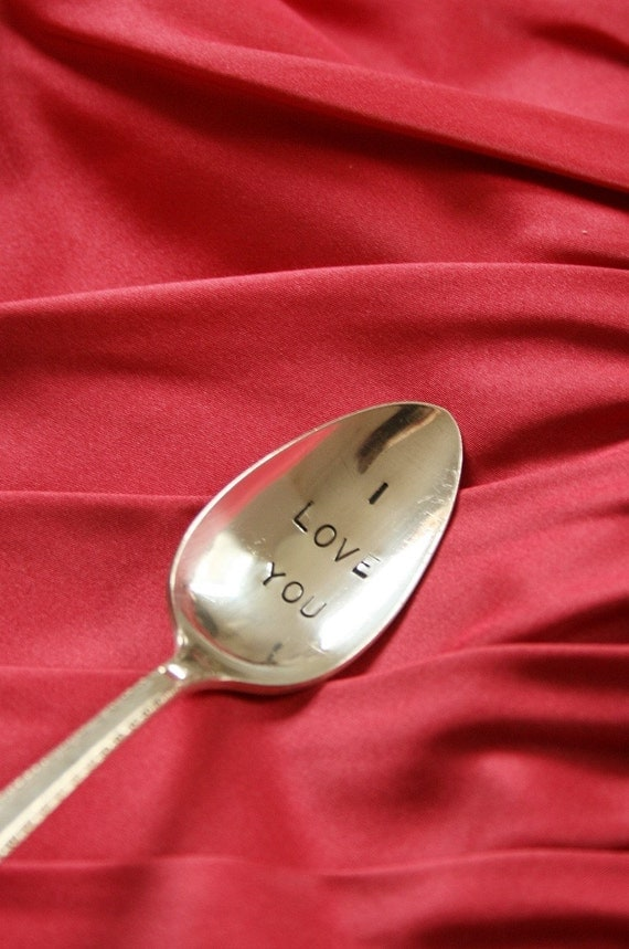 Vintage I love you silver plated spoon  silverware valentines day beachhouseliving  on etsy