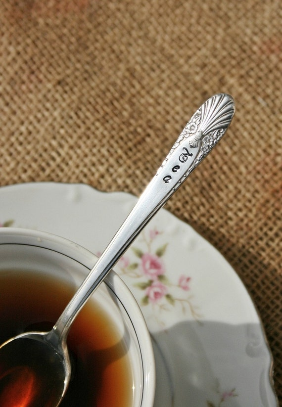 Hand stamped vintage silverware  Tea spoon  recycled silver plated flatware