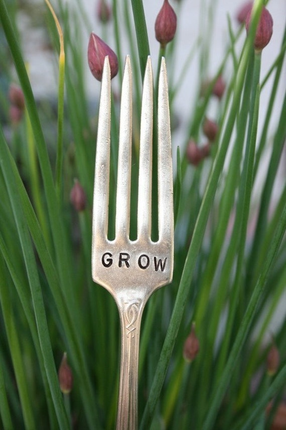 Vintage silverware garden marker GROW silver plated flatware Garden Marker sign Featured in Flea Market Gardens Magazine premiere issue