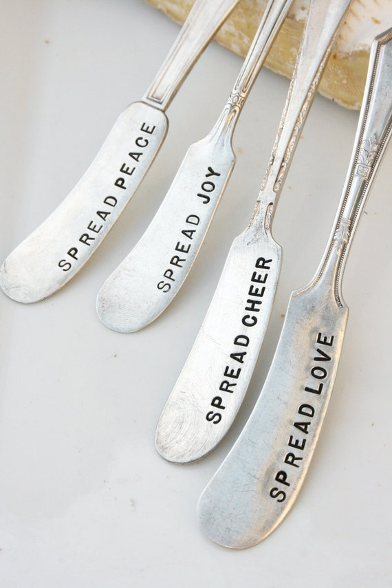 Vintage hand stamped cheese or jam spreaders spread love joy peace cheer recycled silver plated flatware silverware