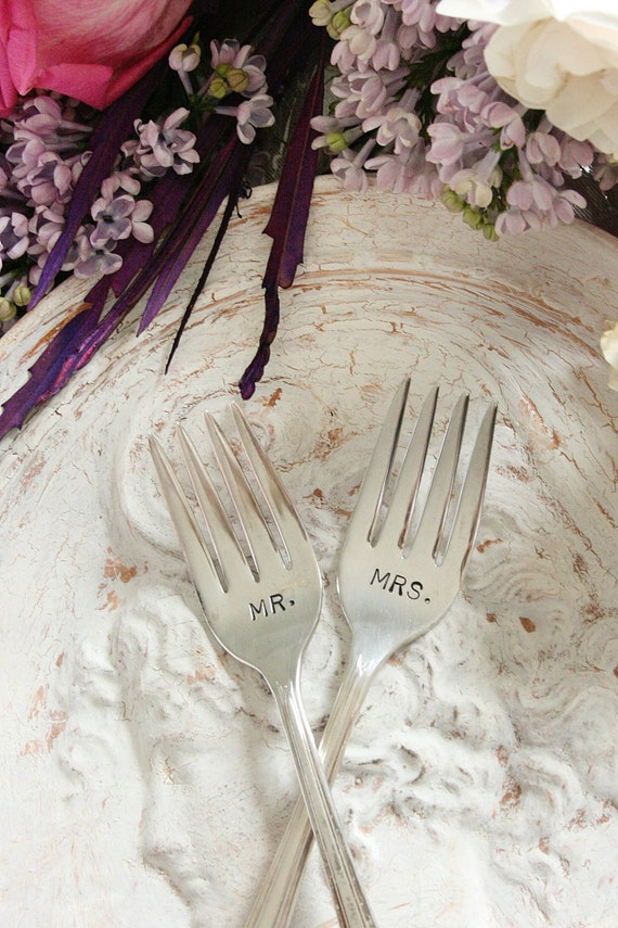 Mr. Mrs. dessert  forks PETITE vintage silver plated Mr and Mrs wedding cake forks  Lady Betty 1940