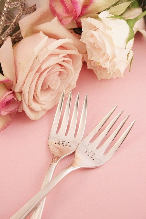 Mr and Mrs Wedding Forks Bouquet 1939. Boho Chic