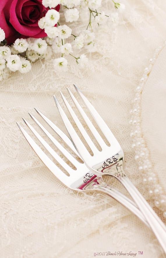 Wedding Fork Set, Mr. Mrs. Forks, Wedding Silverware Precious Mirror 1954
