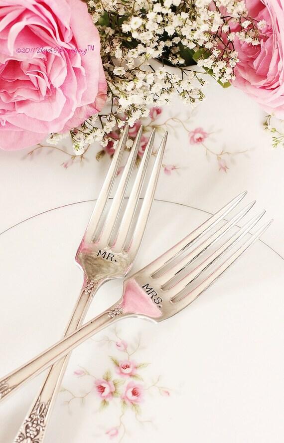 Hand Stamped Mr. Mrs. fork set  wedding  silverware vineyard chic Burgandy 1934.