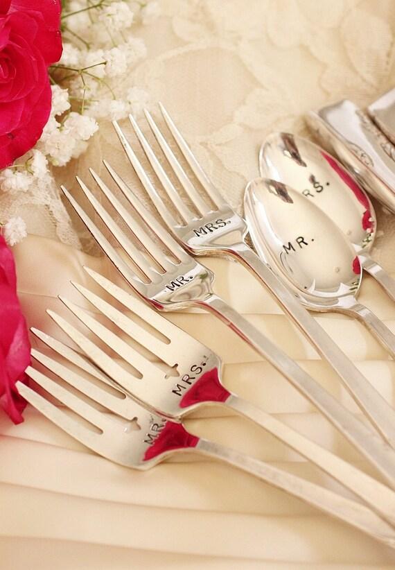 Mr. Mrs. Wedding Silverware Set  8 Piece Wedding Table Setting Spoons Forks Knives vintage silverware Proposal 1954