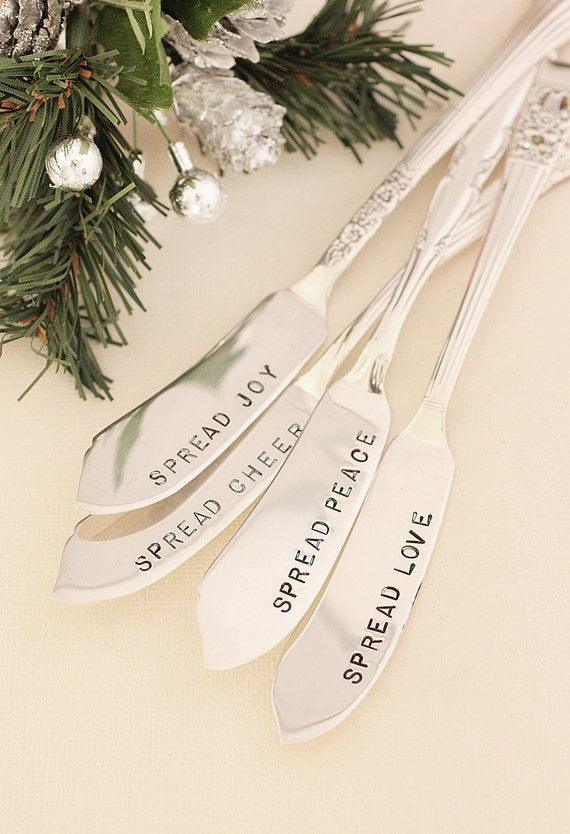 Butter or jam spreaders set of 4: Hand stamped silverware spread cheer joy love peace. Silver plated New