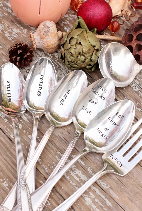 Hand Stamped Holiday Spoons Fork and Ladle Set 7 piece. Christmas or Thanksgiving Serving Set  Silver Plated