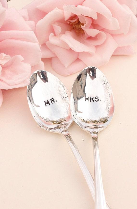 Mr. Mrs. Spoons: Hand Stamped Wedding Silverware Coffee Spoons Silver Plated Stamped Spoon 1985 Enchantment New