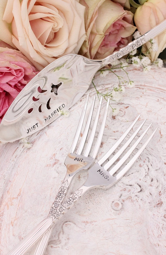 Mr. Mrs. Fork Set Just Married Cake Server Wedding Forks Hand Stamped Silver Plate Floral Fluted Pattern