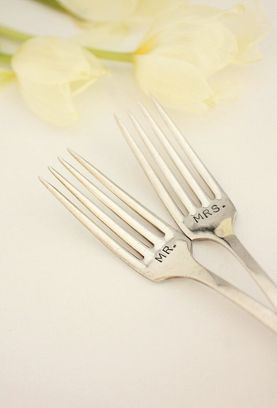 Recycled Silverware Mr. Mrs. Wedding Forks 1923 Bird of Paradise Hand Stamped Mr. Mrs. Fork Set