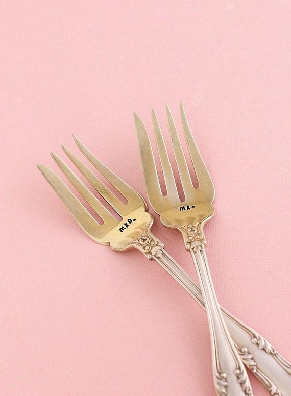 Mr. Mrs. Wedding Fork Set: 1900's Gold Wash Mr. Mrs. Cake Forks 1902 Regent, Ornate Shell Pattern Beach Wedding