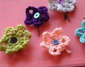 3 Embellished Crocheted Flower Hair Pins
