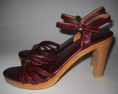 RESERVED For MetroMuse ) Perfectly Amazing 70s Boho Girl  Etienne  Aigner  Wooden heel sandals with Logo  sz 8
