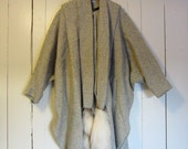 Vintage 1970s  Poncho Fox Fur Tails attached Scarf / Oversized  Herringbone