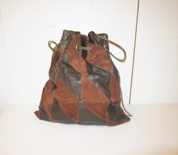 1970s Bohemian LEather patchwork Purse / drawstring sack / bag