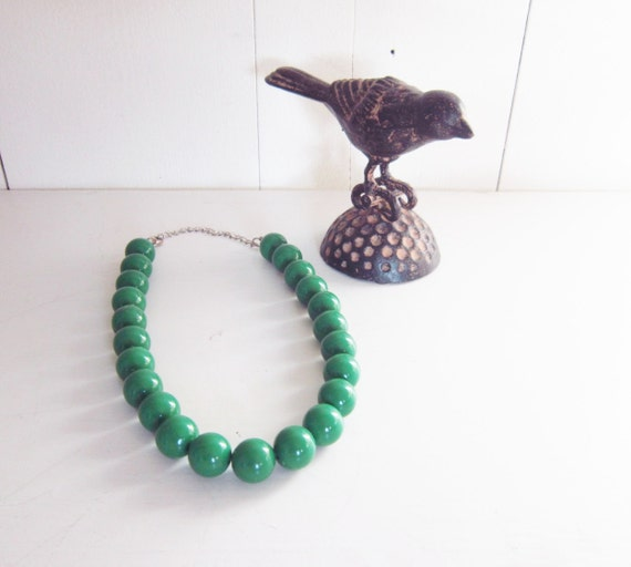 vintage mad men green choker necklace chunky beads