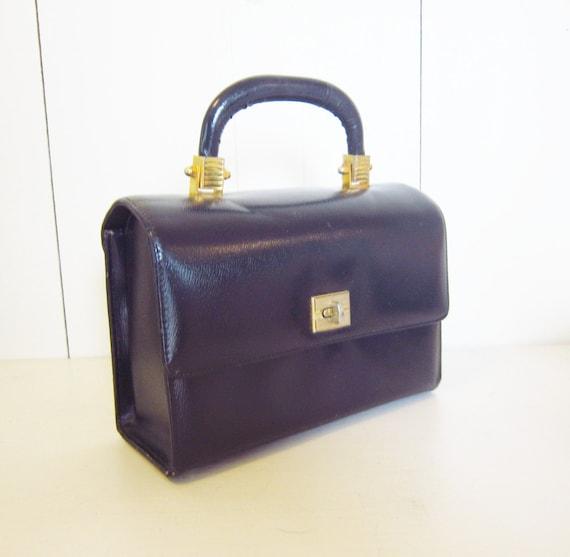 1960s mad men leather box handbag / Navy blue