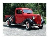 5 DOLLAR CLEARANCE SALE - Classic Red and Black Vintage Ford Truck - 8x10 High Quality Photo Print w/White Border