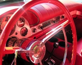 5 DOLLAR CLEARANCE SALE - Cherry Red Classic Car Steering Wheel - 8x10 High Quality Photo Print - Landscape or Portrait
