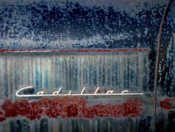 5 DOLLAR CLEARANCE SALE - Vintage Cadillac Script in Rust and Oxidized Blue - 8x10 High Quality Photo Print