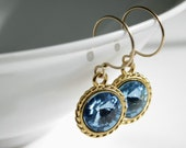 Swarovski Rivoli Earrings, Swarovski Crystals, Aquamarine Blue Color, Gold Tone, Gold Filled, French Wire Earrings