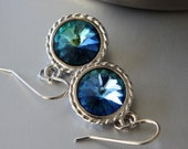 SALE 40% OFF - Swarovski Rivoli Earrings, Green Sphinx Rivoli Crystals, Rhodium Plated Earrings, French Earwires