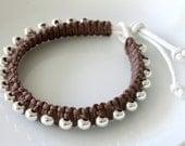 SALE 50% OFF - Macrame Bracelet, Brown Cotton Cord Bracelet, Silver Plated Beads, Unisex Bracelet, Cotton Cord Bracelet