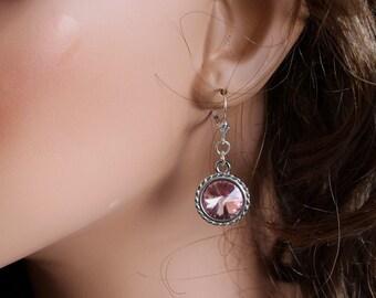 Swarovski Rivoli Earrings - Crystal Earrings - Pink Crystal Silver Earrings - Dangle Earrings - Simple Earrings - Casual Earrings