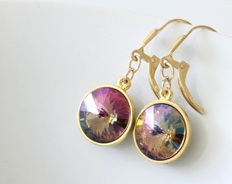 Swarovski Rivoli Earrings - Dangle Earrings - Gold Filled Earrings - Gold Plated Earrings - Everyday Earrings - Casual Earrings