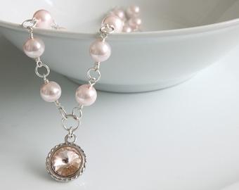 Swarovski Rivoli Necklace, Rivoli Crystal Pendant, Wire Wrapped Necklace, Pink Pearls Necklace