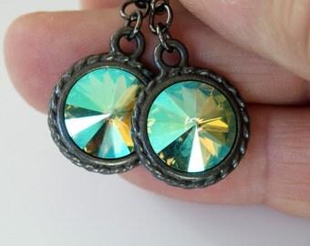 SALE 40% OFF, Swarovski Rivoli Earrings, Rivoli Crystals, Peridot Shimmer Color, Gunmetal Leverback Earrings