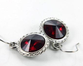 SALE 40% OFF, Rivoli Earrings, Swarovski Earrings, Swarovski Crystals, Siam Red Rivolis, Rhodium Plated, French Wire
