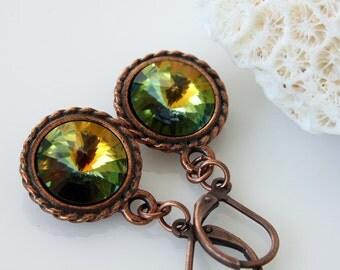 SALE 50% OFF - Rivoli Swarovski Earrings - Rivoli Crystal Earrings - Fall Earrings - Everyday Earrings - Dangle Earrings