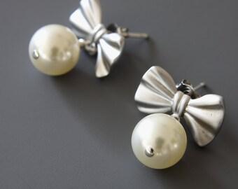 Silver Bow Earrings, Glass Pearls Earrings, Dangle Earrings, Post Earrings, Rhodium Plated Earrings
