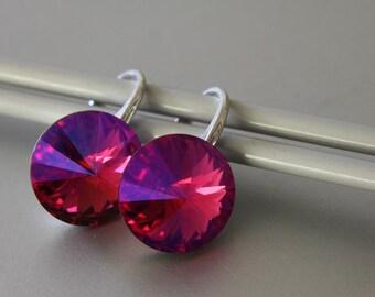 Swarovski Rivoli Earrings, Rivoli Crystals, Fuchsia Shimmer Color, Euro Style Leverback Earring, Sterling Silver Earrings