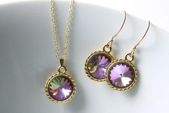 Rivoli Crystal Earrings - Violet Crystals Earrings - Pendant and Earrings Set - Swarovski Rivoli Set - Swarovski Crystal Set - Crystal Set