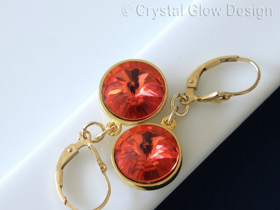 Swarovski Rivoli Earrings, Padparadsha Color Crystals, Gold Filled Earwires,  Dangle Earrings, Gold Plated