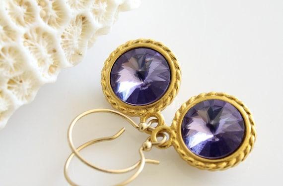 SALE 40% OFF - Earrings, Rivoli, Swarovski Rivoli Earrings, Violet Swarovski Crystals, Dangle Gold Filled Earrings, French Earwires