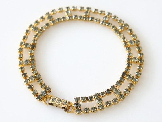 Vintage 1970's Bracelet, Rhinestones, Gold Tone Bracelet, Deinty Bracelet