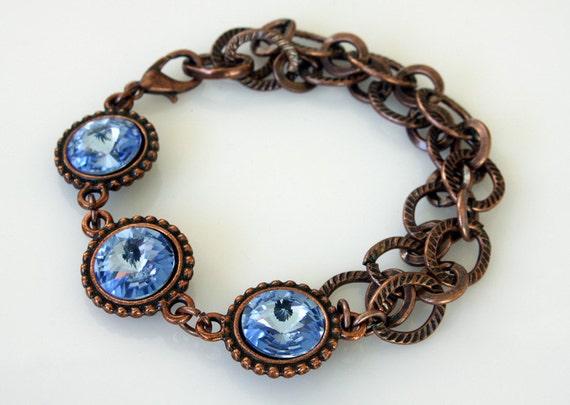 Rivoli Swarovski Bracelet - Sapphire Blue Crystals - Heavy Bracelet - Copper Bracelet - Crystal Bracelet - Blue Crystal Bracelet