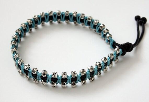 PIF, Macrame Leather Bracelet, Blue Leather, Knotted Bracelet, Friendship Bracelet, Boys Bracelet, Mens Bracelet