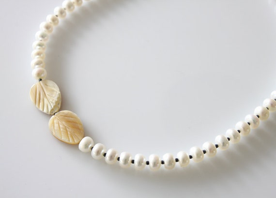 Fresh Water Pearls Necklace, MOP Leaves Necklace, Choker Necklace, Statement Necklace