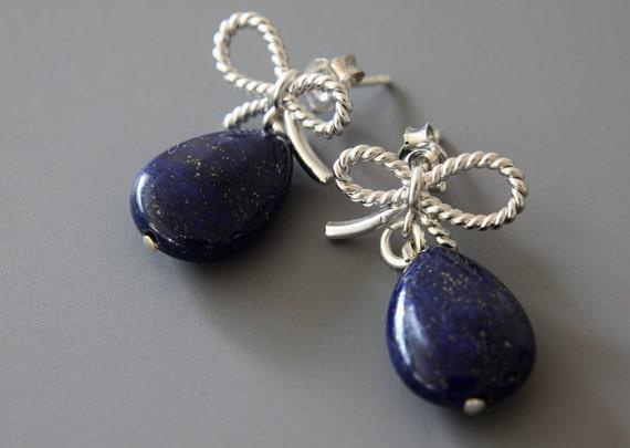 Lapis Lazuli Earrings, Real Stone, Blue Teradrops, Silver Bows Earrings, Dangle Earrings, Post Earrings, Rhodium Plated Earrings
