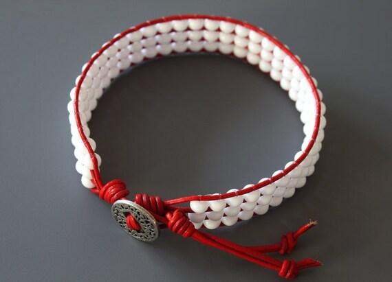 SALE 40% OFF, Leather Beaded Bracelet, Red Leather, White Beads, Knotted Bracelet, Teens Bracelet, Girls Bracelet