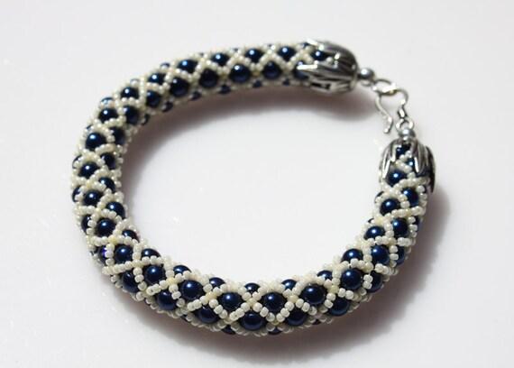 SALE 30% OFF, Netted Woven Bracelet, Tubular Woven Bracelet, Glass Pearls Seed Beads Bracelet, Sterling Silver Clasp