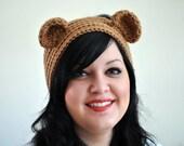 Golden Bear Crocheted Headband Earwarmer Light Brown Taupe Beige Bear Ears