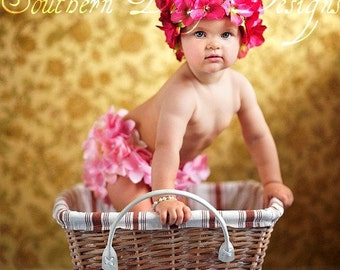 Flowergirl Wedding Flower Hat Spring Newborn Girl Infant Girl Baby Girl Newborn Photo Prop Infant Photo Prop 1st Birthday Outfit Easter Pink