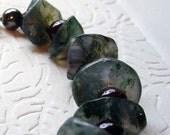 Moss Agate and Garnet Bracelet