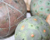 SALE. Group of three decorative ceramic spheres (eggs) in green, chartreuse and reddish undertones 38