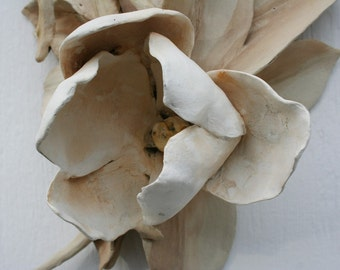 Sculpted ceramic magnolia branch. Han made, realistic, wall hanging, wedding, gift, house warming.